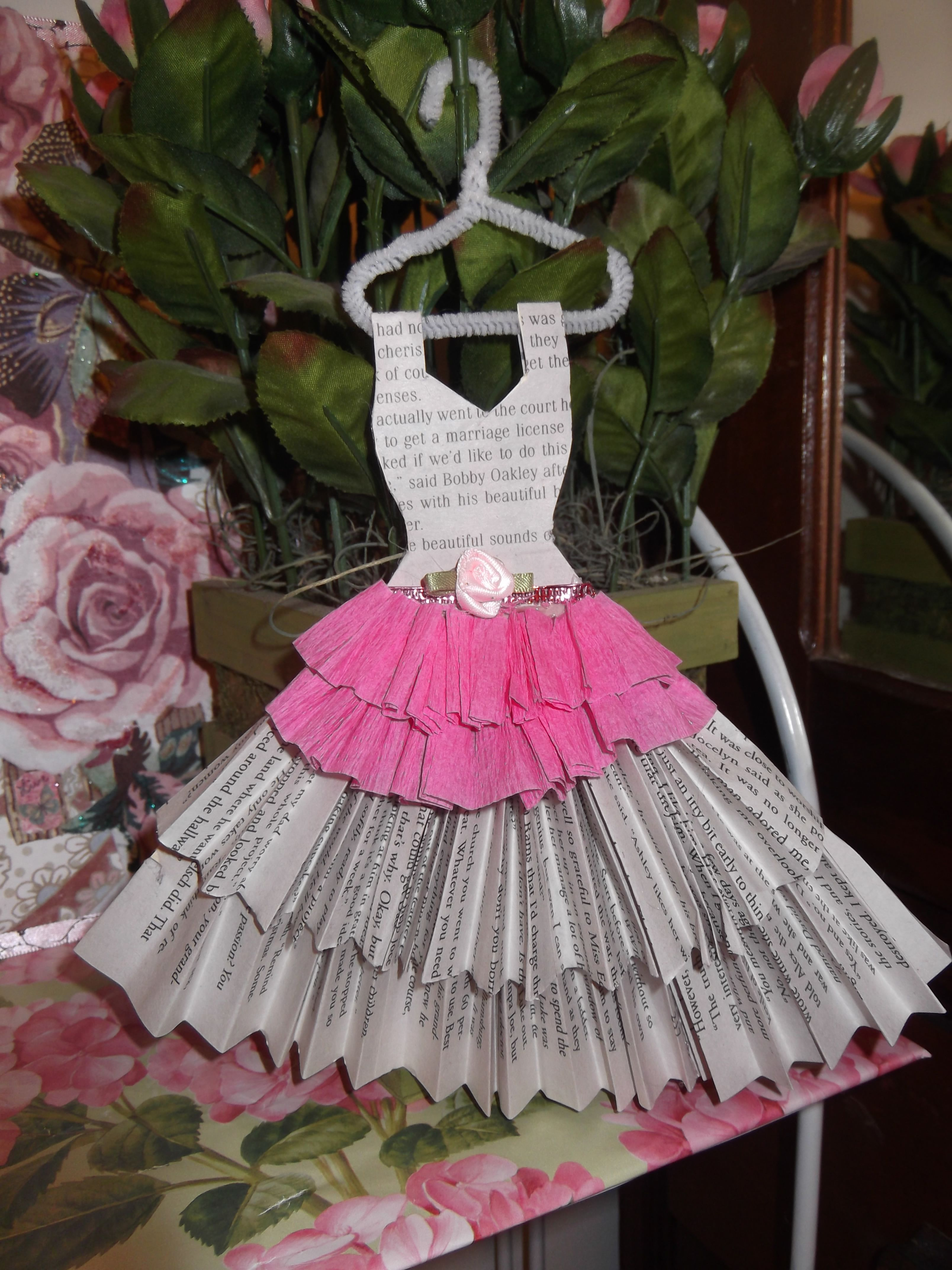 News paper and pink crepe paper dress mini clothes pinterest