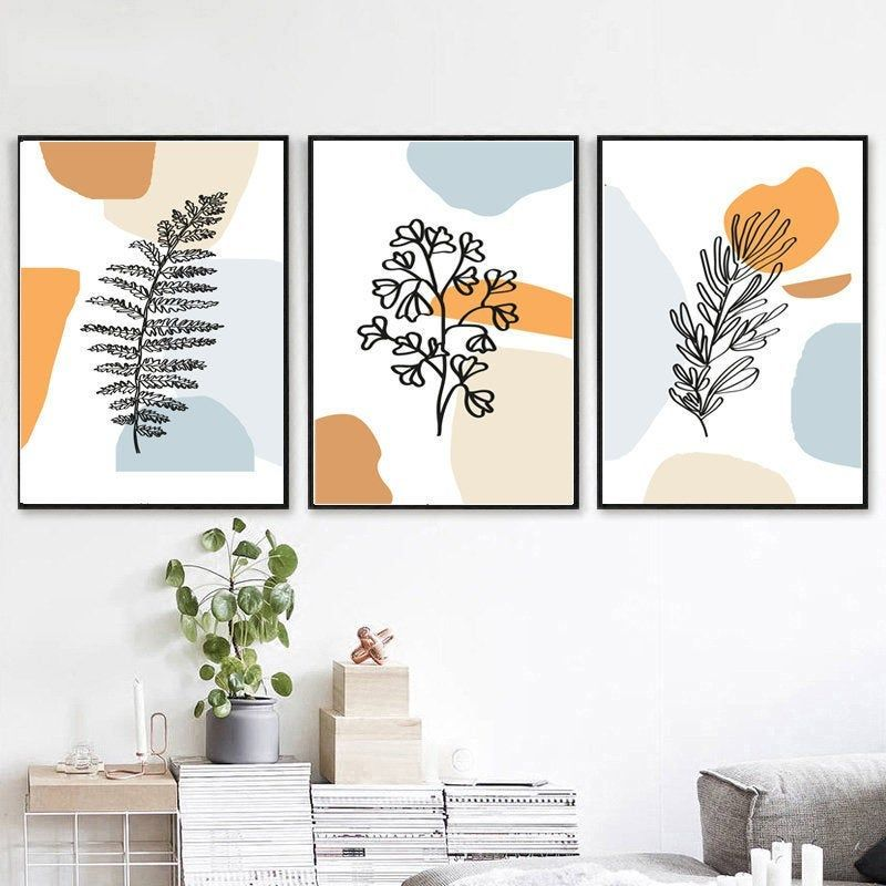 Leaf Line Art Blue Orange Wall Art Set Of 3 Prints Leaf Line Etsy In 2020 Orange Wall Art Blue Wall Art Art Gallery Wall