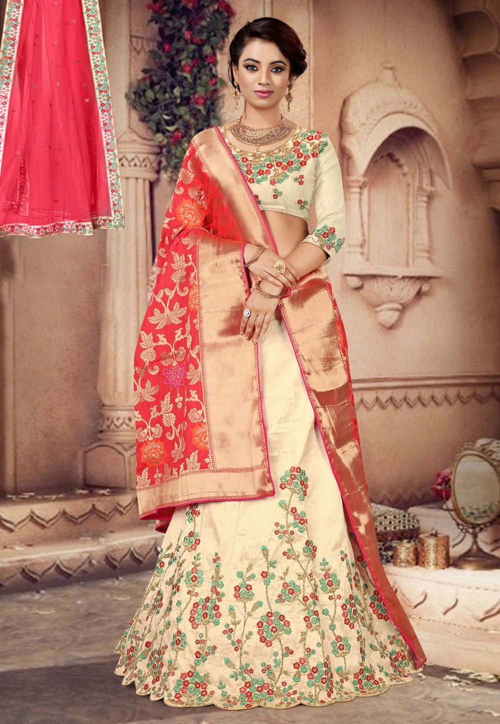 Photo of Buy Beige Silk A Line Lehenga Choli 166480 online at best price f