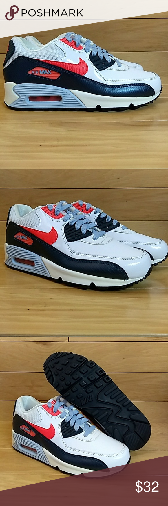 online store b94ee 44b3f Nike Air Max 90 2007 GS White Red Navy Blue 5Y Item  Nike Air Max