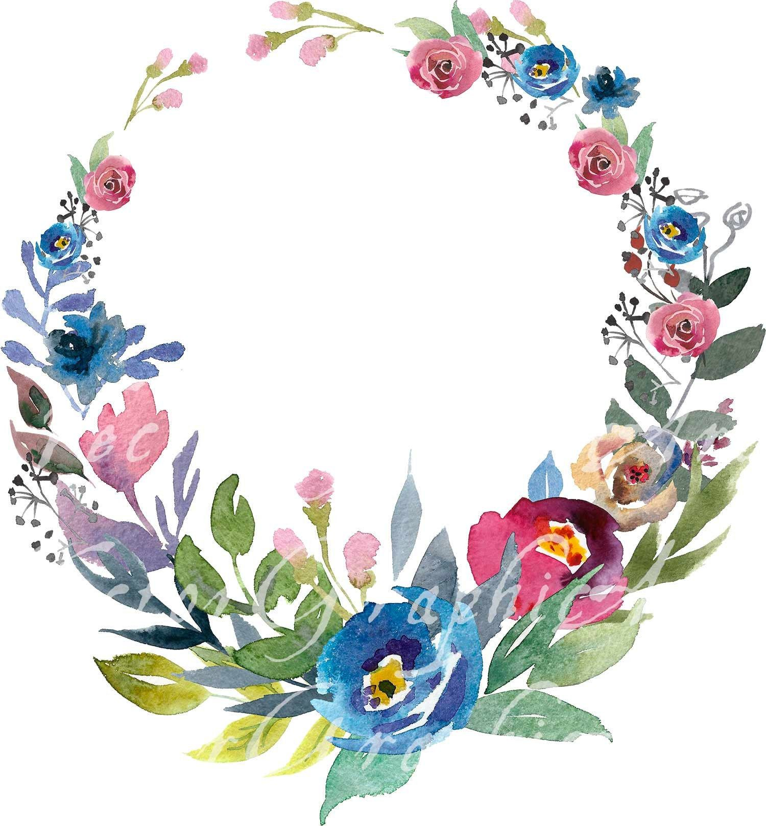 Floral Round Frame Watercolor Floral Clipart 1 Frame Etsy In 2021 Flower Wreath Illustration Flower Art Floral Watercolor