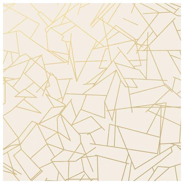 Papier peint géométrique blanc ANGLES GOLD CREAM – Erica Wakerly