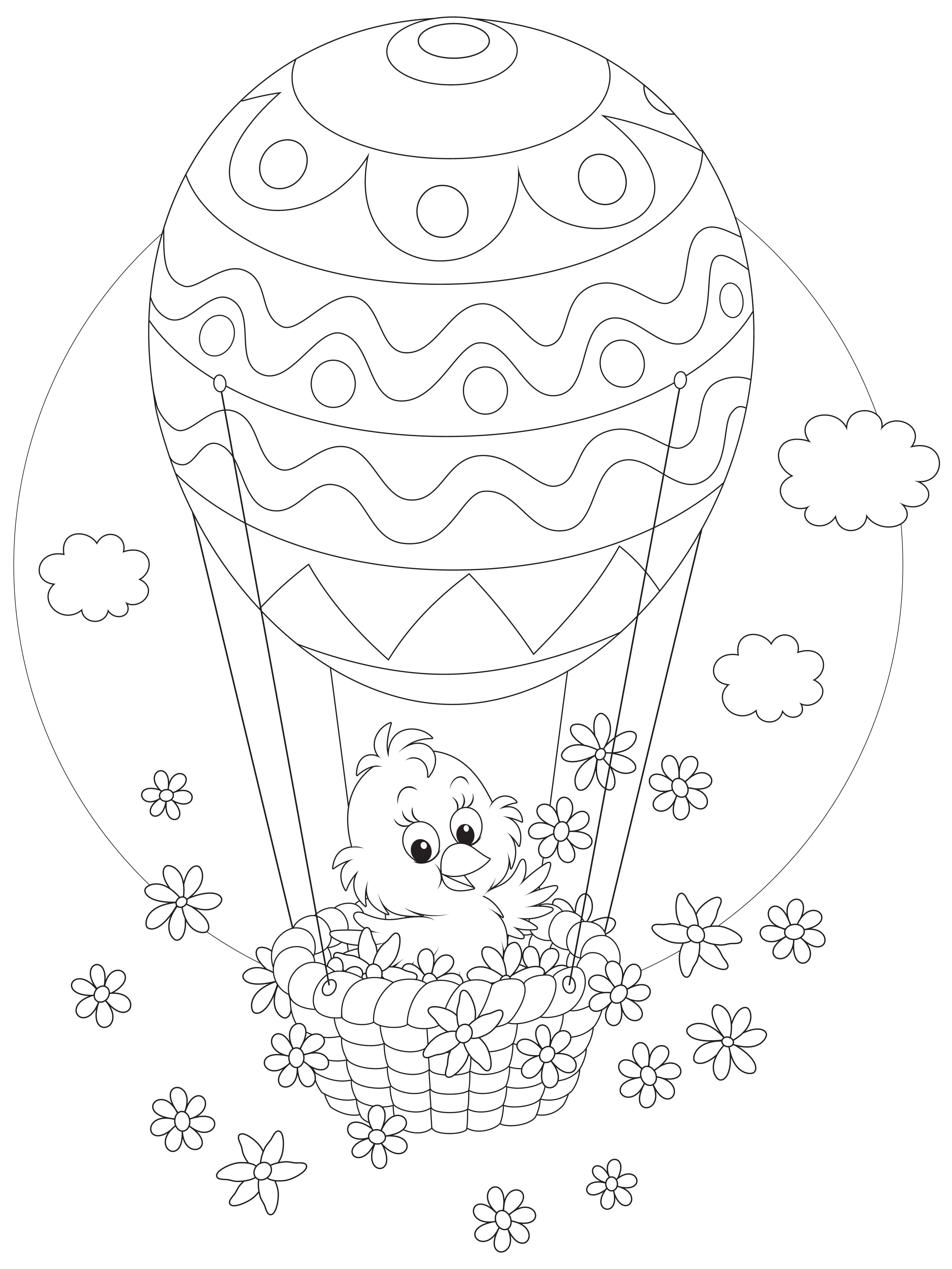 Gratis målarbild – påskkycklingen åker luftballong   Luftballong ...