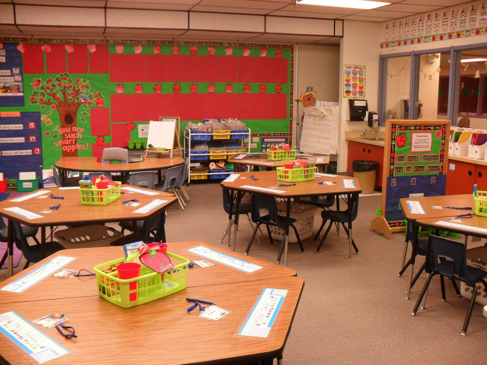 Classroom Design And Organization Ideas ~ Classroom set up love the laundry baskets for storage