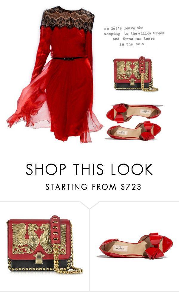 """Beautiful Red Dress"" by beautifulnoice on Polyvore featuring moda, Roberto Cavalli, Tadashi Shoji e Valentino"