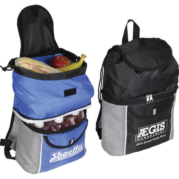 16 can Backpack Cooler with 2 side zippered pockets, front mesh ...