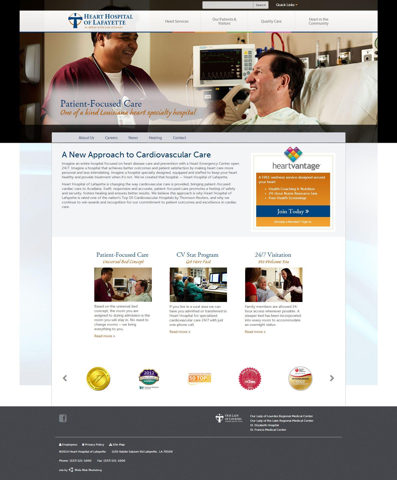 Website Design And Development For Heart Hospital Of Lafayette Http Www Hearthospitaloflafayette Com Heart Hospital Hospital Web Marketing