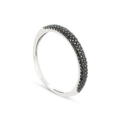 Tous mes bijoux - BATO02019 - Alliance Femme - Or blanc 375/1000 1.35 gr - Oxyde de zirconium - Noir: Amazon.fr: Bijoux
