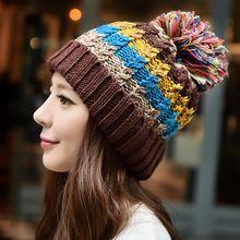 a4f640c8ab943 Nueva moda Color Mix bola de la piel de mujer gorro de lana de invierno de lana  cálido sombreros de punto gorro Skullies y gorritas tejidas 6 Color ...