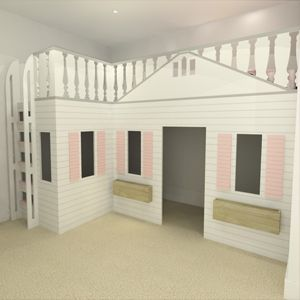 Best Playhouse Twin Bunk Bed With A Play Area Underneath This 400 x 300