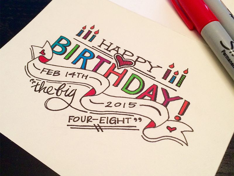 The Big Four Eight Happy Birthday Lettering