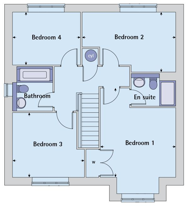 First floor plan image of the the canterbury bovis homes Canterbury floor plan