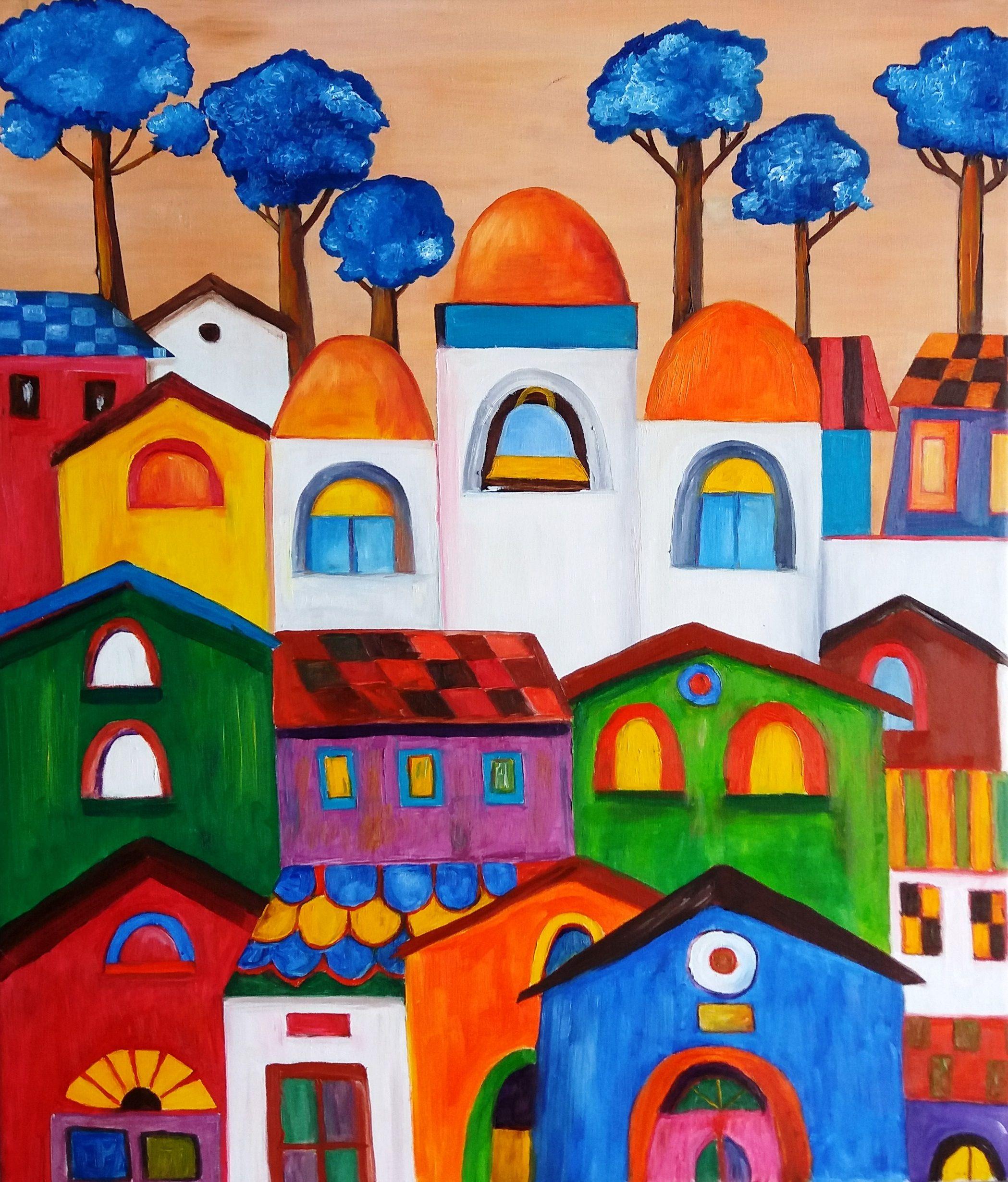 Elisa Figueroa paisaje Naïf costumbrista óleo sobre tela de 60 x 70 ...