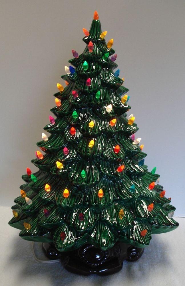Musical Ceramic Christmas Tree Vintage Nightlight Music Box Lights Flocked