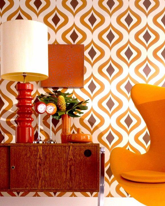 Papier Peint Orange Kitsch