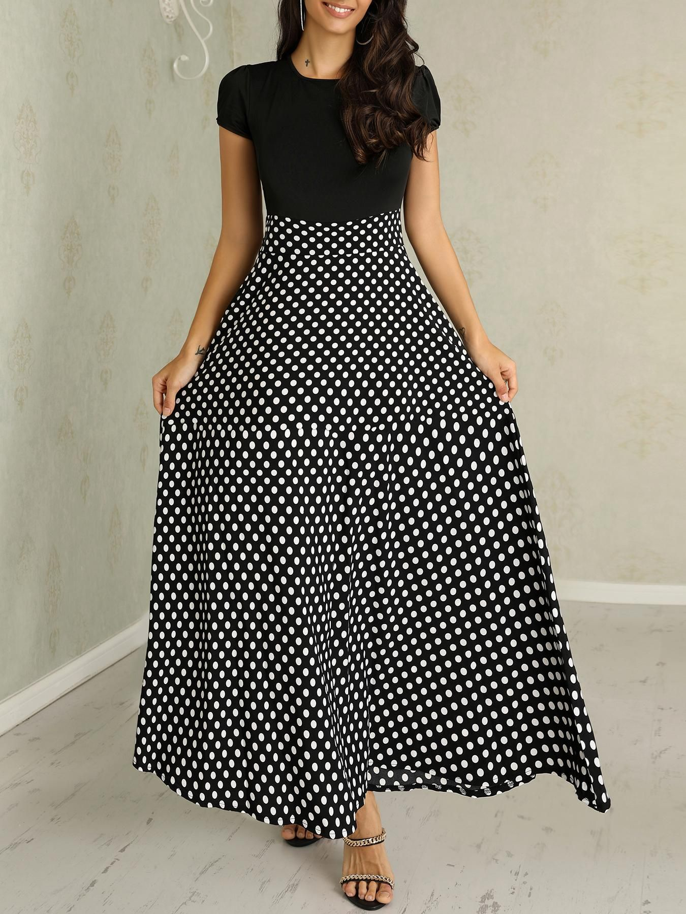 Short Sleeve Polka Dots Print Patchwork Maxi Dress Short Sleeve Polka Dots Print Patchwork Maxi Dress,