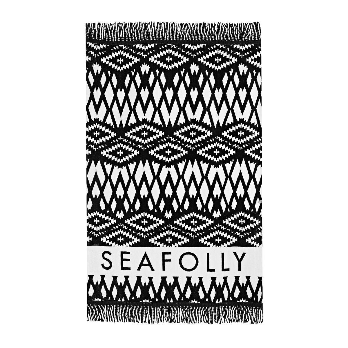 8af7501ef28 Seafolly Towels - Seafolly Fringe Benefits Persian Towel - Black/White