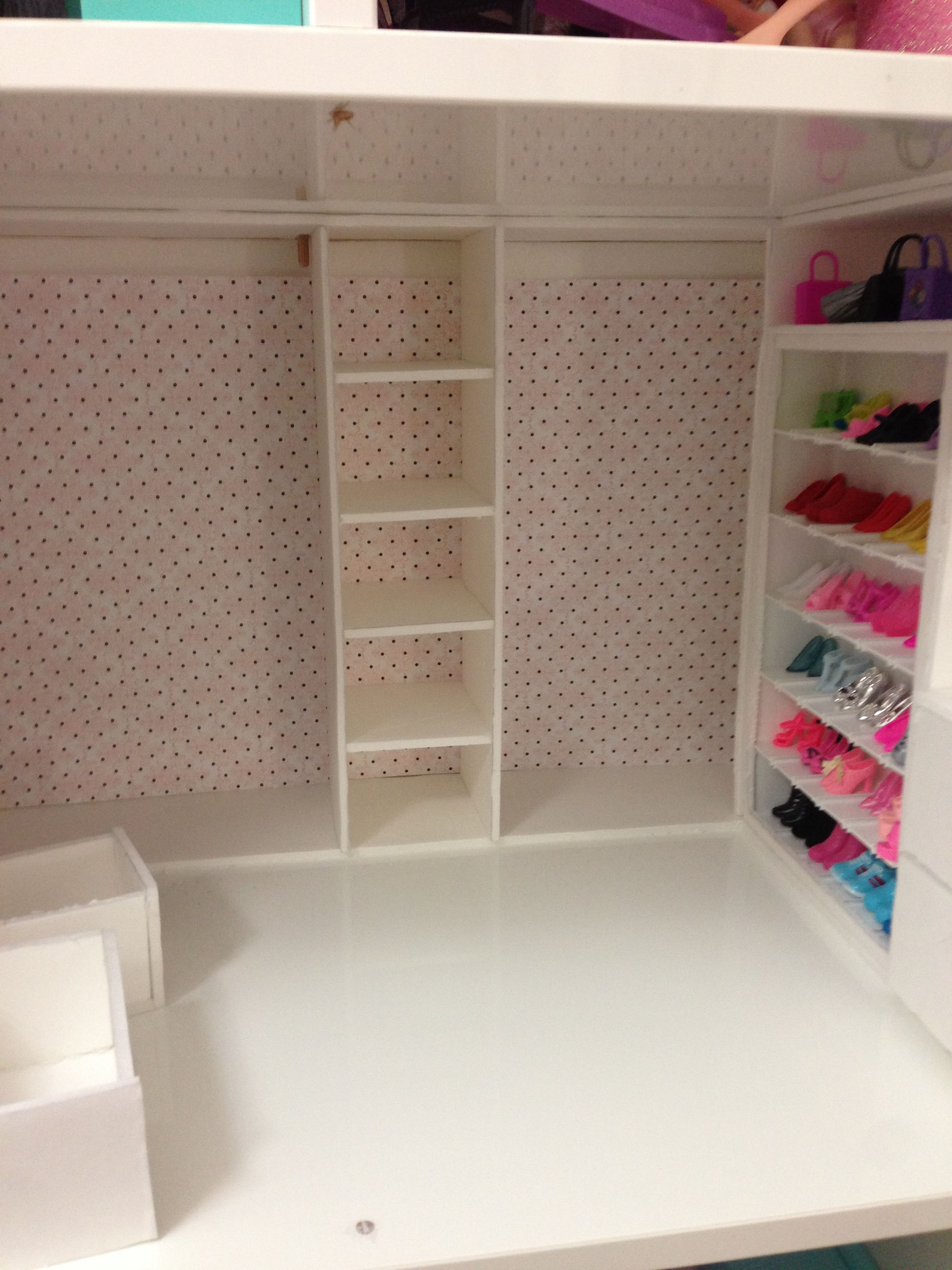 Perfect Barbie Closet Construction: I Added A Five Shelf, Three Drawer Area  Tonight. I
