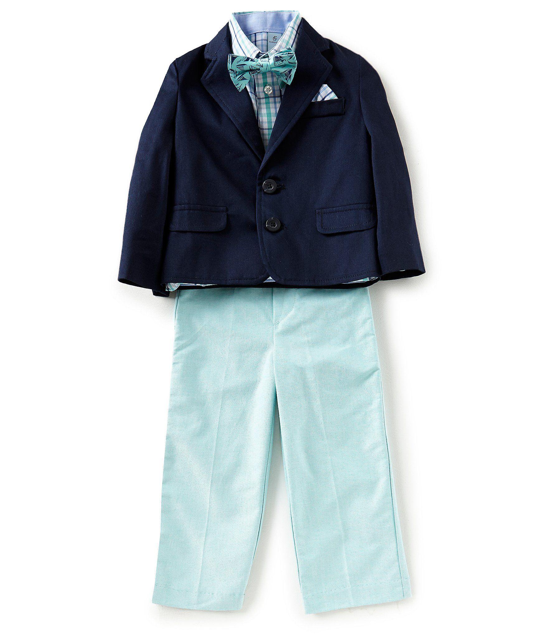278cc411d896 Class Club Little Boys 2T-7 Plaid Button-Down Shirt, Jacket, Pants, & Boat  Bow Tie 4-Piece Suit Set #Dillards