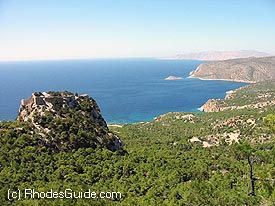 The castle of Monolithos, build on an imposing rock.