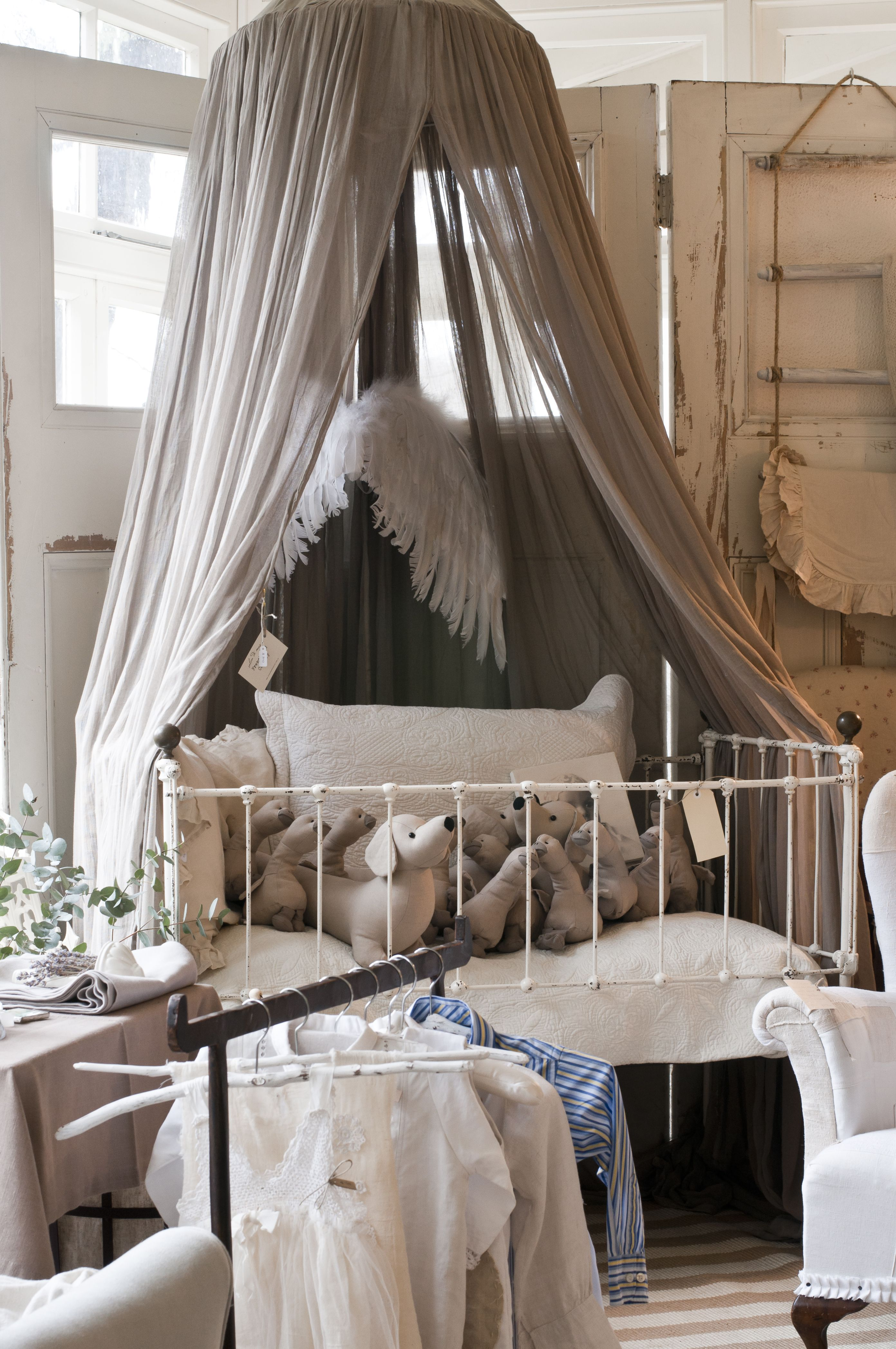Italian dreamy mosquito net over vintage cot, French ...