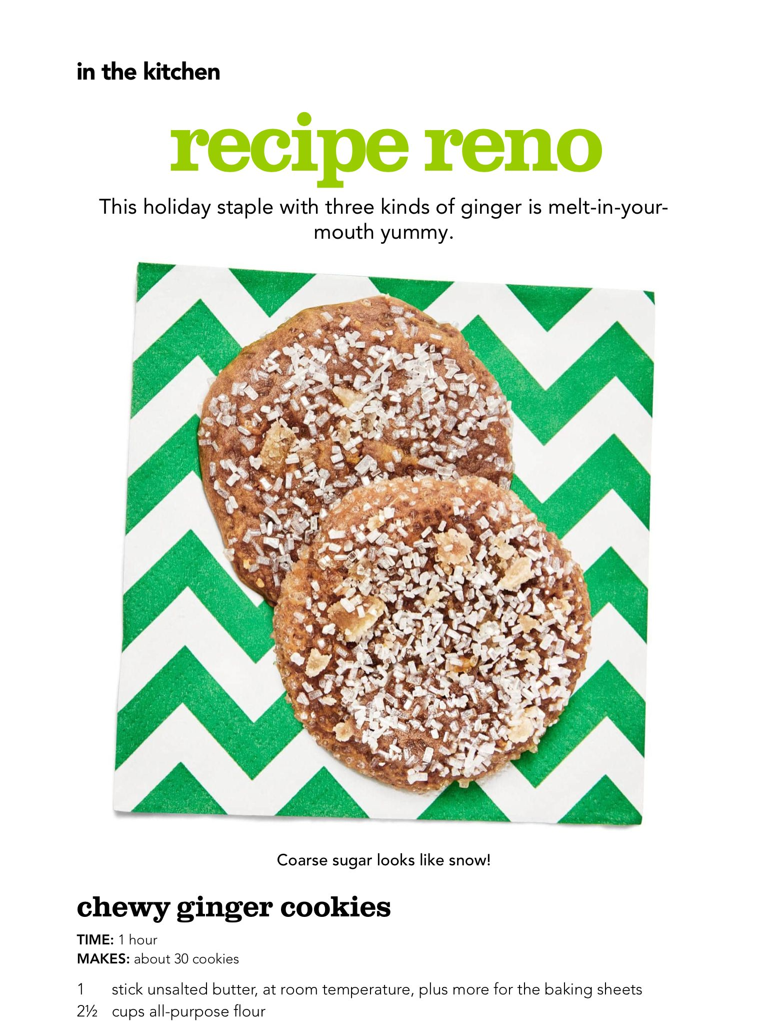 """""""Recipe Reno Chewy Ginger Cookies"""" from HGTV Magazine"""