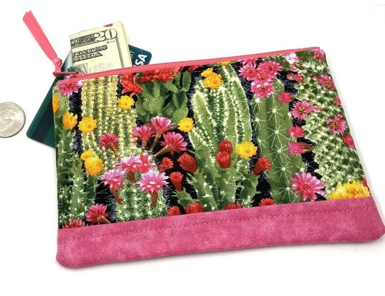 Small key ring zippered pouch with key ring in yellow and pink Quilted coin purse in yellow fabric pink flowers and zip