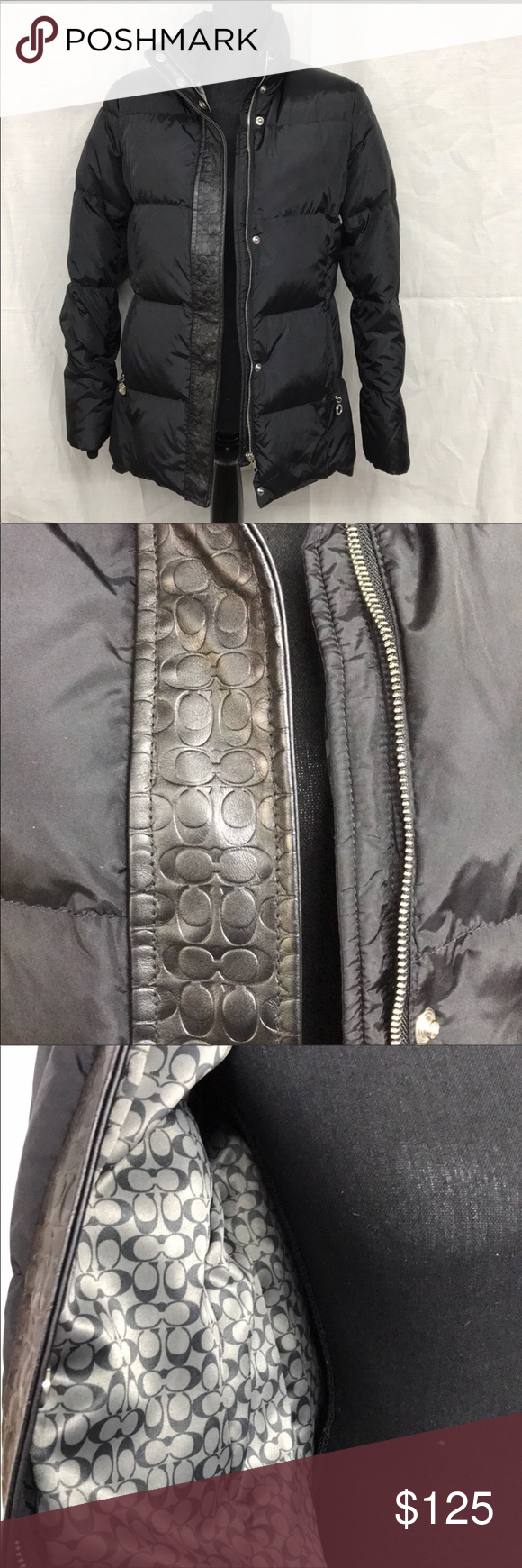 Coach Down Puffer Jacket Size S Excellent Condition Very Warm For The Winter Leather Trim That Covers The Zipper With T Clothes Design Fashion Design Jackets [ 1740 x 580 Pixel ]