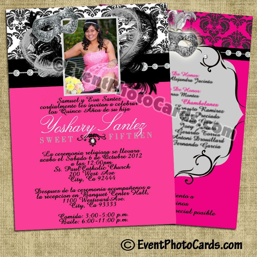 Pink Damask Quinceanera invitations Sweet 15 Quinceanera