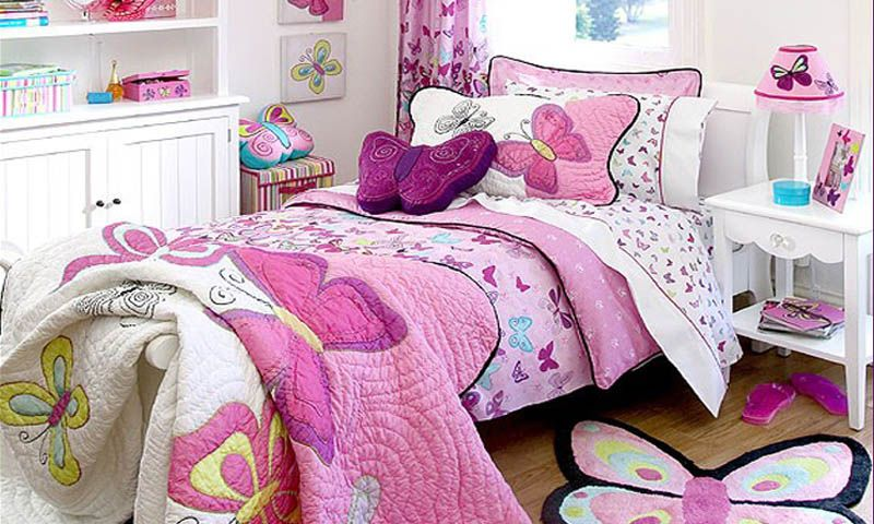 Pink Butterfly Bed Linens | Butterfly Lace Pink Kids Bedding By Freckles