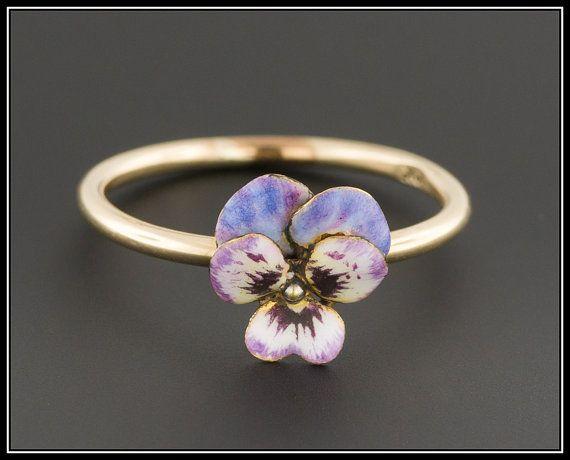 10k Gold Enamel Pansy Ring   Antique ConversionRing   Antique Pansy Ring    Purple Pansy Ring   10k Gold Ring