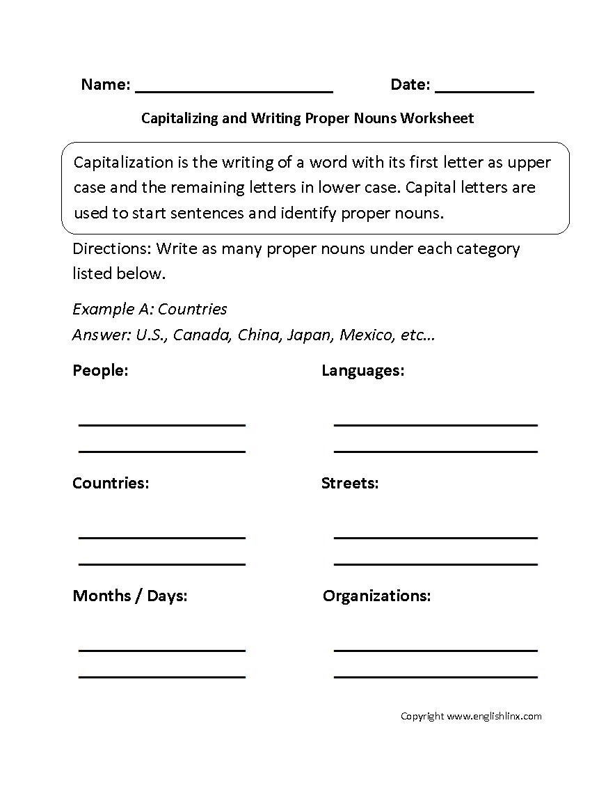 Capitalizing and Writing Proper Nouns Worksheet   Proper nouns worksheet [ 1144 x 884 Pixel ]