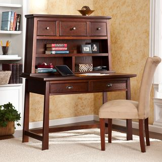 Bruno Espresso Desk With Hutch Set The Warm Finish And Eastern Influences