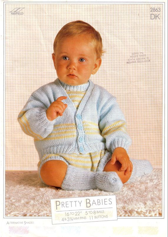 6d655358c393 Vintage PDF Baby Knitting Pattern - Hayfield 2863 - romper cardigan socks  Instant Download