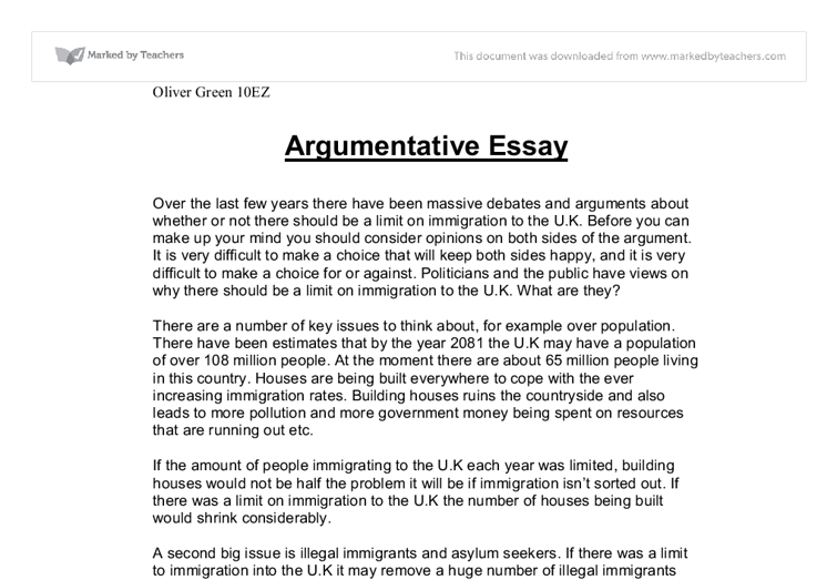 Argument essay samples
