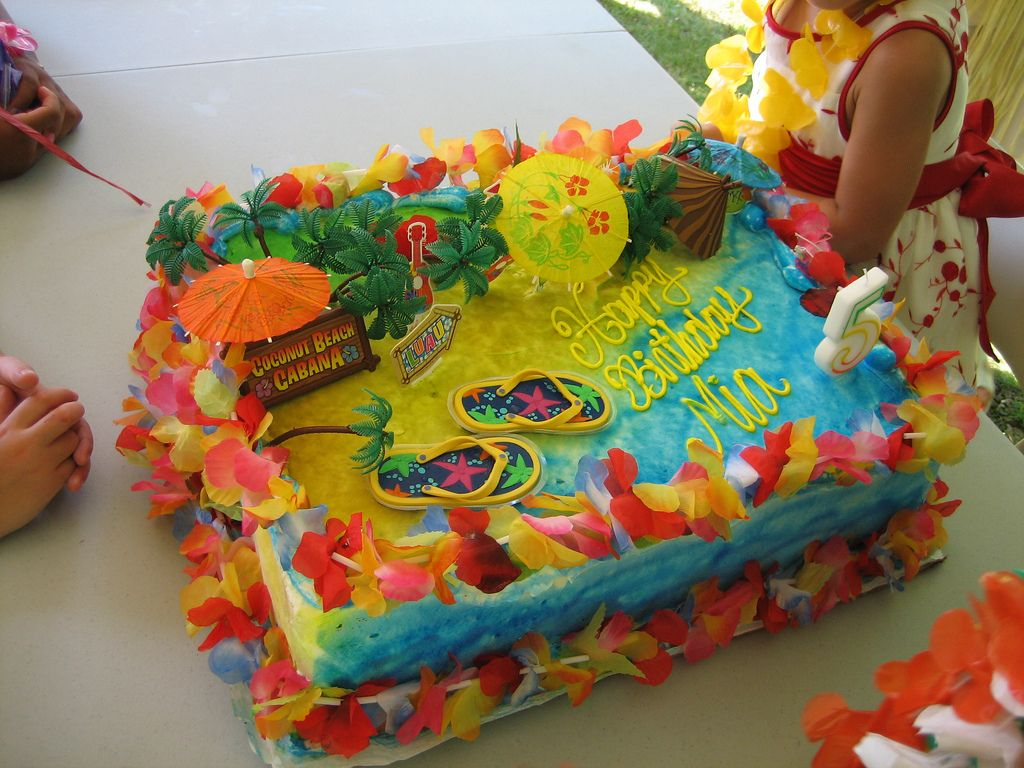 Strange Luau Sheet Cake Ideas Mias Hawaiian Luau Birthday Party Cake Funny Birthday Cards Online Elaedamsfinfo