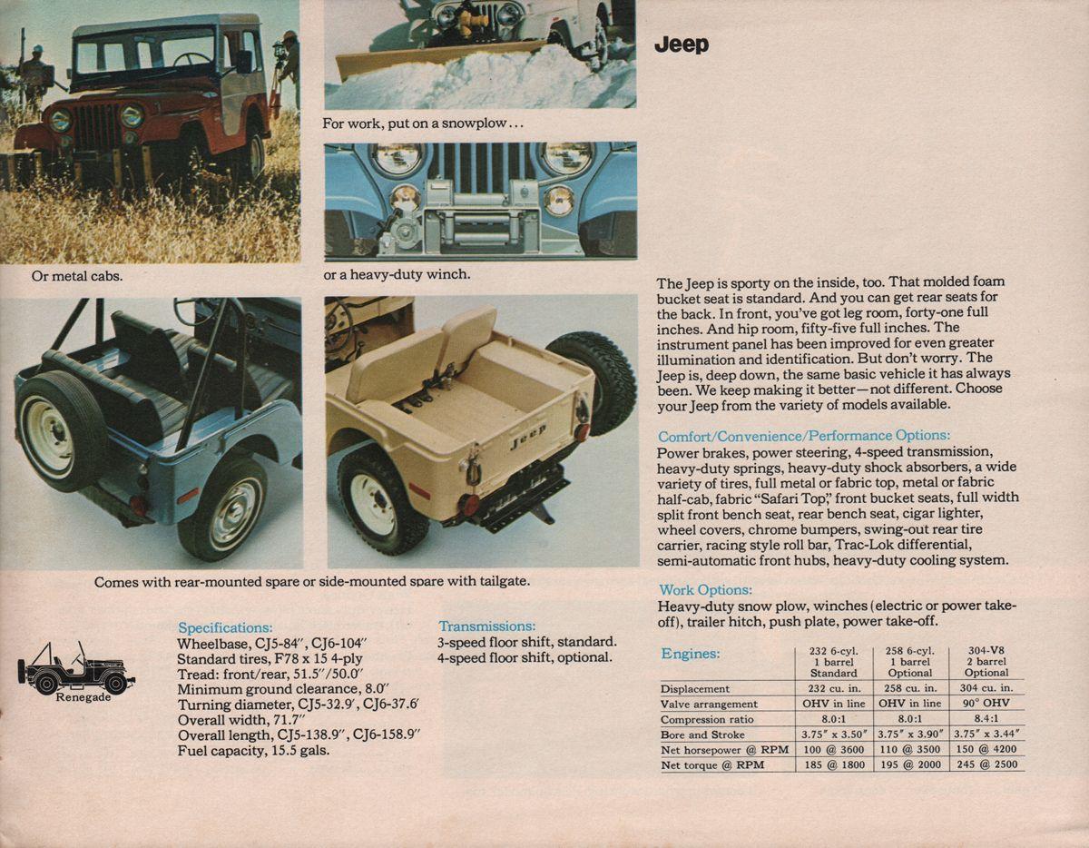AMC 1973 Jeep Sales Brochure | Jeep & 4WD | Jeep, Jeep cj6