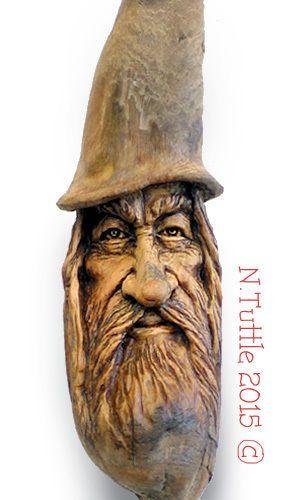 Original wood carving tree spirit mini wizard magical