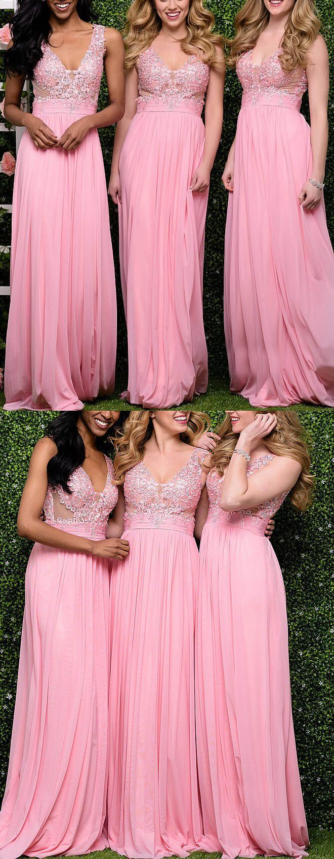 straps v neck chiffon lace long prom dress pink formal gown