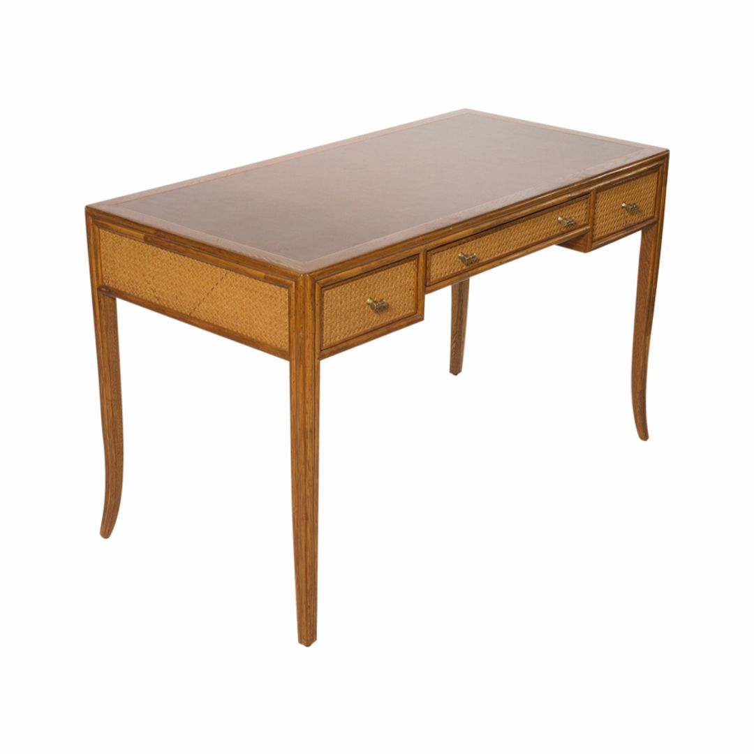 Mid Century McGuire Faux Bamboo And Cane Writing Desk