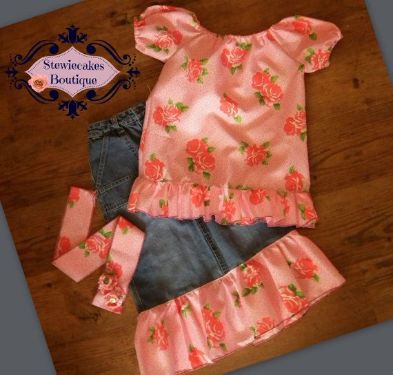 Denim and Roses 3 Piece Upcycle Skirt Set  Size 5 by stewiecakes, $40.00
