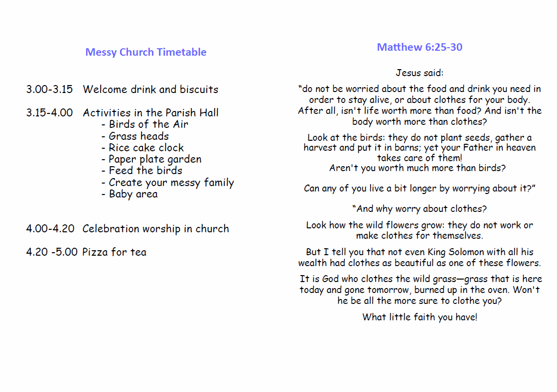 inside of take away sheet for Do Not Worry Messy Church