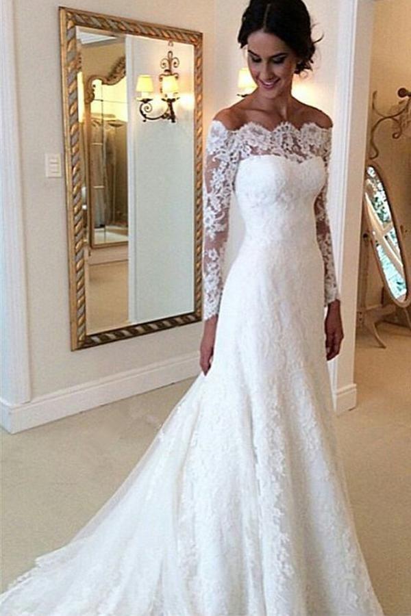 Cheap Ivory Vintage Long Sleeves Wedding Dresses 760c4221a7e
