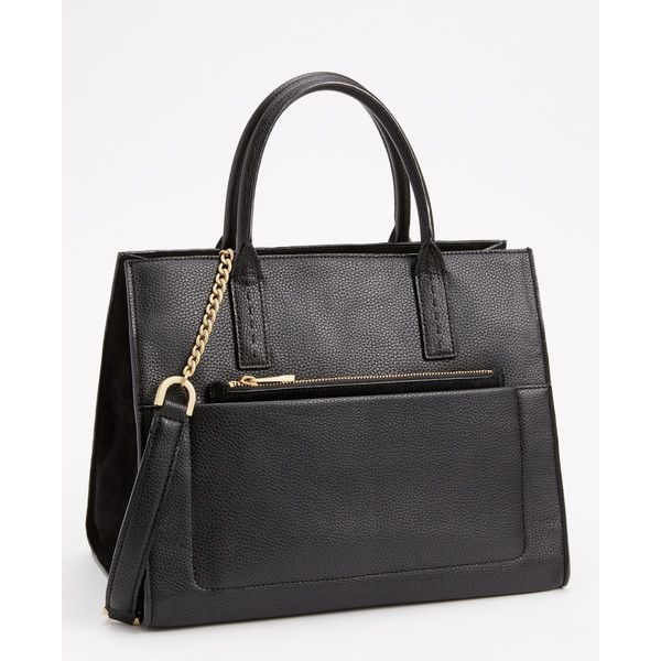 Ann Taylor Sonia Tote ($178) ❤ liked on Polyvore featuring bags, handbags, tote bags, black, black handbags, ann taylor purses, zip top tote, calf hair purse and ann taylor handbags