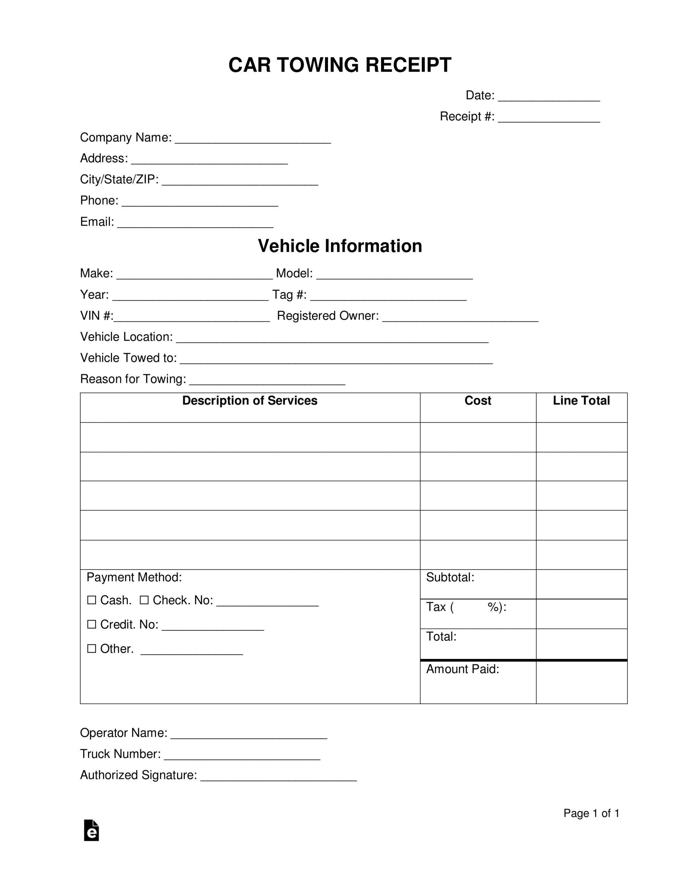 Towing Invoice