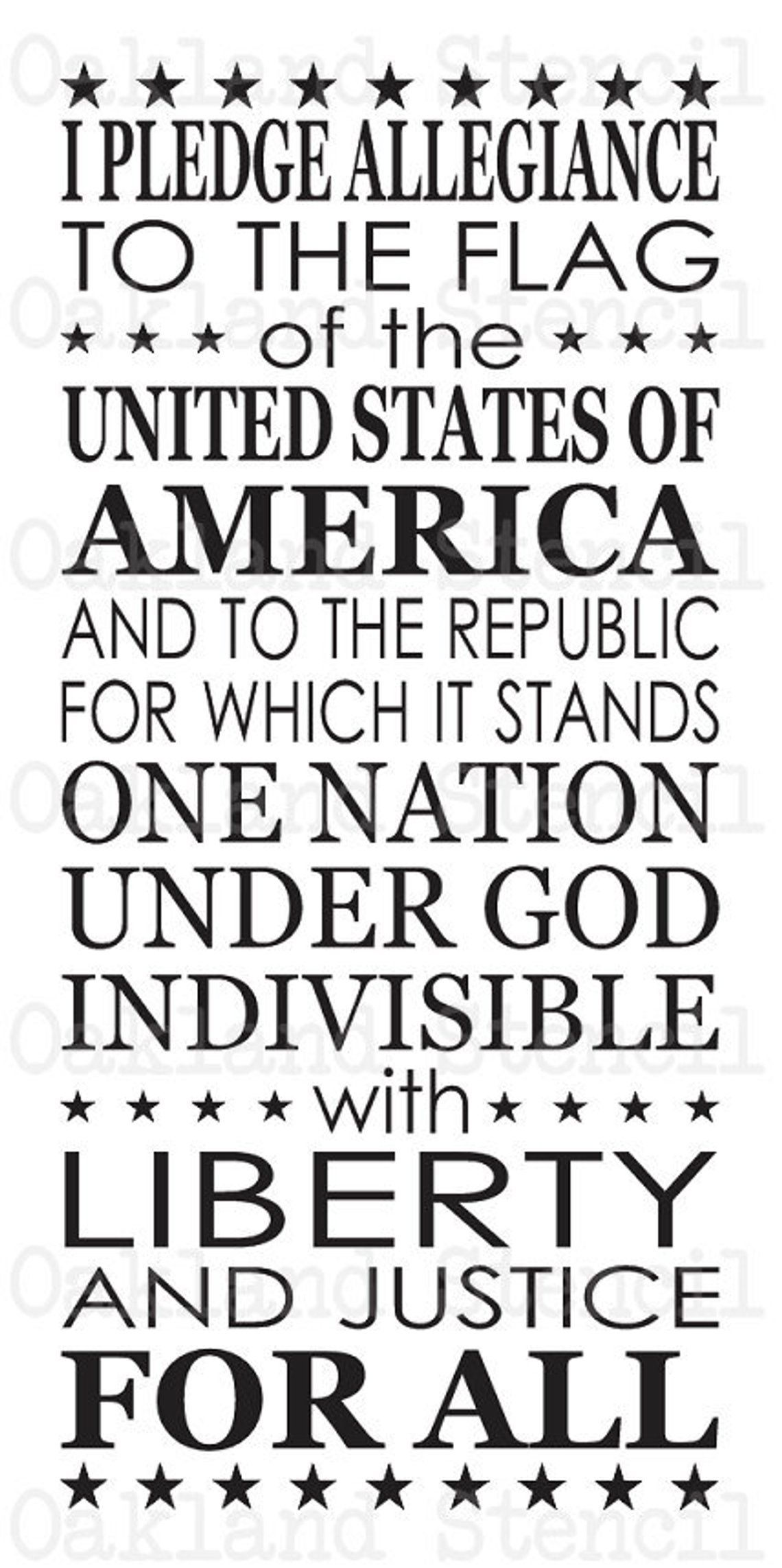 Pledge Of Allegiance Stencil Large 12 X24 For Painting