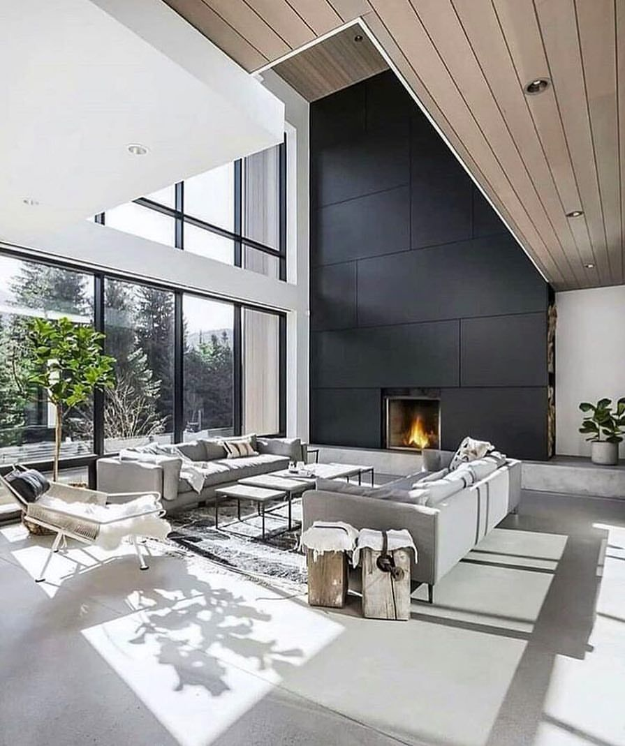 High Ceilings, Black Cladding, Timber