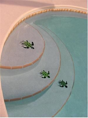 Ceramic Shadowed Baby Green Turtle | Mosaics in Pools in ...