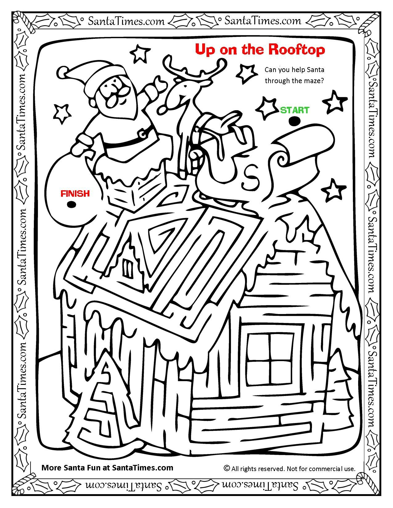 Up On The Rooftop With Santa Maze And Coloring Page With