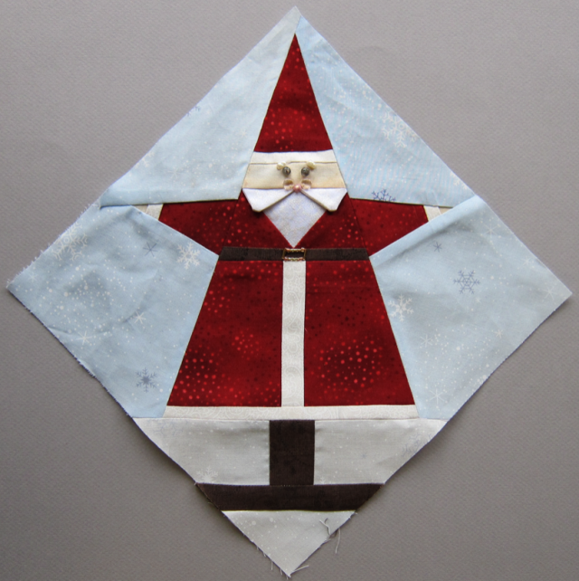 Paper Pieced Christmas Tree Pattern: He's Here, He's Here! The Santa Claus Block Is Ready